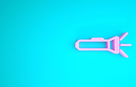 Pink Flashlight icon isolated on blue background. Minimalism concept. 3d illustration 3D render