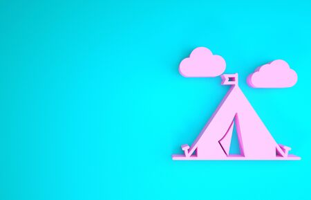 Pink Tourist tent with flag icon isolated on blue background. Camping symbol. Minimalism concept. 3d illustration 3D render