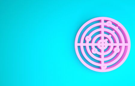 Pink Radar with targets on monitor in searching icon isolated on blue background. Military search system. Navy sonar. Minimalism concept. 3d illustration 3D render 版權商用圖片