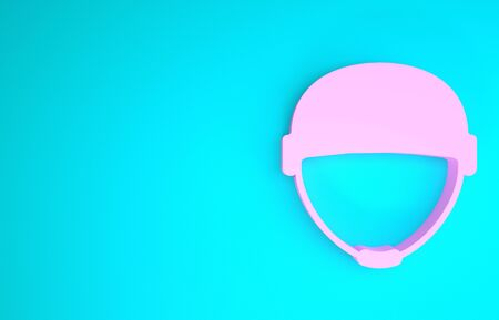 Pink Military helmet icon isolated on blue background. Army hat symbol of defense and protect. Protective hat. Minimalism concept. 3d illustration 3D render