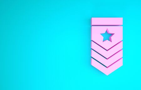 Pink Chevron icon isolated on blue background. Military badge sign. Minimalism concept. 3d illustration 3D render 版權商用圖片