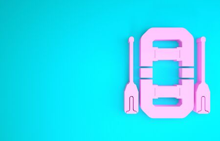 Pink Rafting boat icon isolated on blue background. Inflatable boat with oars. Water sports, extreme sports, holiday, vacation, team building. Minimalism concept. 3d illustration 3D render