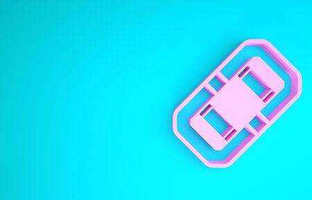 Pink Rafting boat icon isolated on blue background. Inflatable boat. Water sports, extreme sports, holiday, vacation, team building. Minimalism concept. 3d illustration 3D render