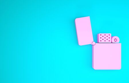 Pink Lighter icon isolated on blue background. Minimalism concept. 3d illustration 3D render