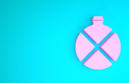 Pink Canteen water bottle icon isolated on blue background. Tourist flask icon. Jar of water use in the campaign. Minimalism concept. 3d illustration 3D render