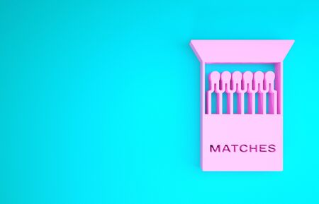 Pink Open matchbox and matches icon isolated on blue background. Minimalism concept. 3d illustration 3D render