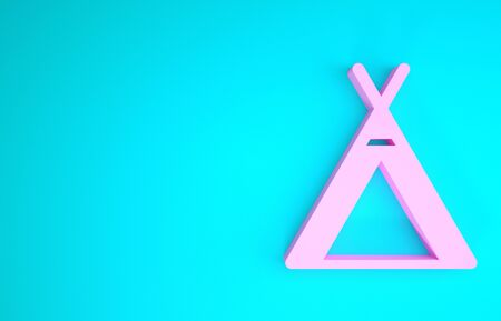 Pink Tourist tent icon isolated on blue background. Camping symbol. Minimalism concept. 3d illustration 3D render 写真素材