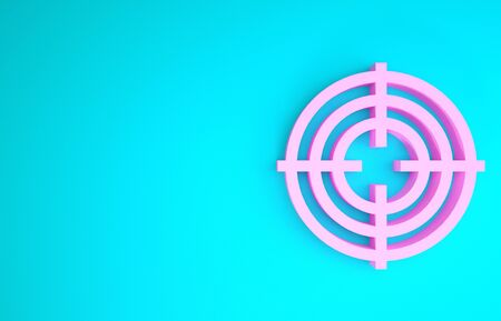 Pink Target sport for shooting competition icon isolated on blue background. Clean target with numbers for shooting range or shooting. Minimalism concept. 3d illustration 3D render