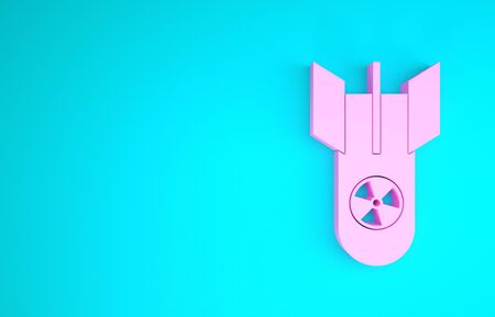 Pink Nuclear bomb icon isolated on blue background. Rocket bomb flies down. Minimalism concept. 3d illustration 3D render