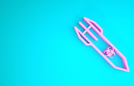 Pink Biohazard rocket icon isolated on blue background. Rocket bomb flies down. Minimalism concept. 3d illustration 3D render
