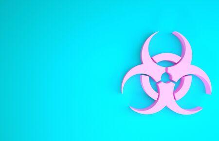Pink Biohazard symbol icon isolated on blue background. Minimalism concept. 3d illustration 3D render