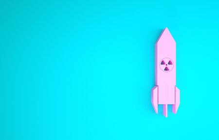 Pink Nuclear rocket icon isolated on blue background. Rocket bomb flies down. Minimalism concept. 3d illustration 3D render Stock fotó