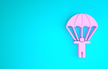 Pink Parachute and silhouette person icon isolated on blue background. Minimalism concept. 3d illustration 3D render