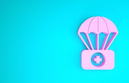 Pink Parachute with first aid kit icon isolated on blue background. Medical insurance. Minimalism concept. 3d illustration 3D render