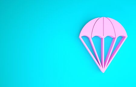 Pink Parachute icon isolated on blue background. Minimalism concept. 3d illustration 3D render