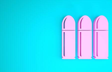 Pink Bullet icon isolated on blue background. Minimalism concept. 3d illustration 3D render