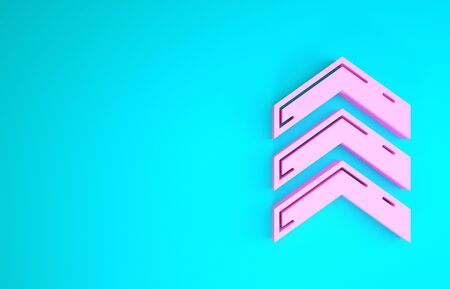 Pink Military rank icon isolated on blue background. Military badge sign. Minimalism concept. 3d illustration 3D render