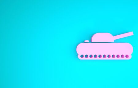 Pink Military tank icon isolated on blue background. Minimalism concept. 3d illustration 3D render