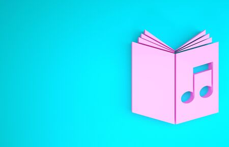 Pink Audio book icon isolated on blue background. Musical note with book. Audio guide sign. Online learning concept. Minimalism concept. 3d illustration 3D render