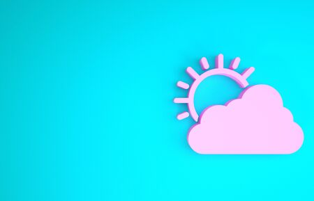 Pink Sun and cloud weather icon isolated on blue background. Minimalism concept. 3d illustration 3D render Foto de archivo - 133841091