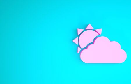 Pink Sun and cloud weather icon isolated on blue background. Minimalism concept. 3d illustration 3D render Foto de archivo - 133841094