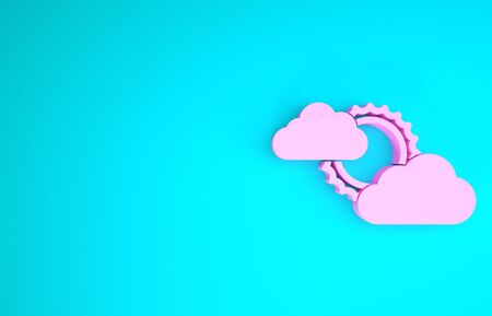 Pink Sun and cloud weather icon isolated on blue background. Minimalism concept. 3d illustration 3D render Foto de archivo - 133841098