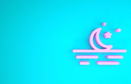 Pink Moon and stars icon isolated on blue background. Minimalism concept. 3d illustration 3D render