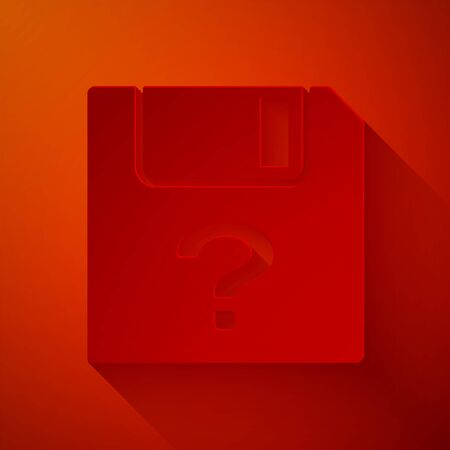 Paper cut Unknown document icon isolated on red background. File with Question mark. Hold report, service and global search sign. Paper art style. Vector Illustration