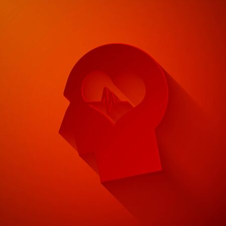 Paper cut Male head with a heartbeat icon isolated on red background. Head with mental health, healthcare and medical sign. Paper art style. Vector Illustration Ilustrace