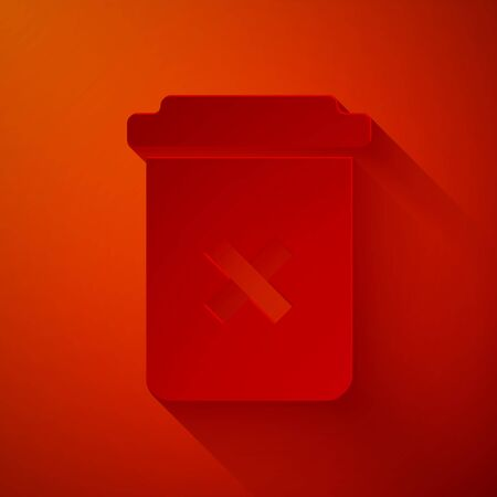 Paper cut Trash can icon isolated on red background. Delete icon. Garbage bin sign. Recycle basket icon. Office trash icon. Paper art style. Vector Illustration Illustration