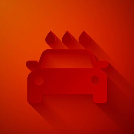 Paper cut Car wash icon isolated on red background. Carwash service and water cloud icon. Paper art style. Vector Illustration