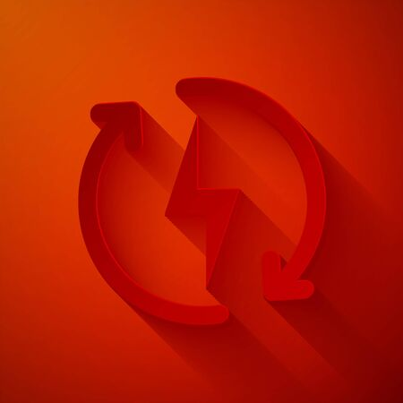 Paper cut Recharging icon isolated on red background. Electric energy sign. Paper art style. Vector Illustration Illusztráció
