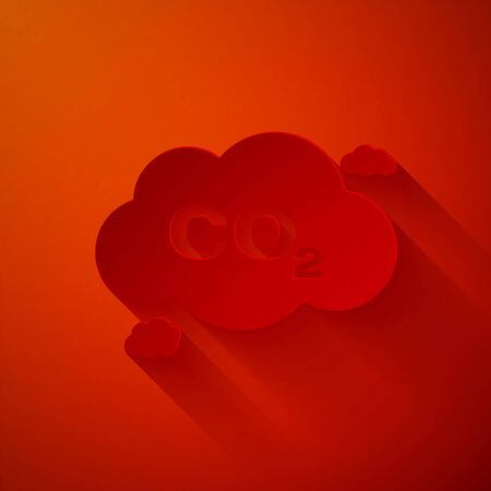 Paper cut CO2 emissions in cloud icon isolated on red background. Carbon dioxide formula symbol, smog pollution concept, environment concept. Paper art style. Vector Illustration