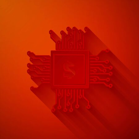 Paper cut Processor chip with dollar icon isolated on red background. CPU, central processing unit, microchip, microcircuit, computer processor. Paper art style. Vector Illustration Illustration