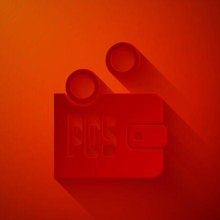 Scherenschnitt Beweis des Pfahlsymbols auf rotem Hintergrund isoliert. Kryptowährungswirtschaft und Finanzsammlung. Stil der Papierkunst. Vektorillustration Vektorgrafik