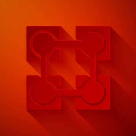 Paper cut Blockchain technology icon isolated on red background. Cryptocurrency data. Abstract geometric block chain network technology business. Paper art style. Vector Illustration Illustration
