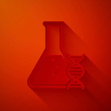 Paper cut DNA research, search icon isolated on red background. Genetic engineering, genetics testing, cloning, paternity testing. Paper art style. Vector Illustration