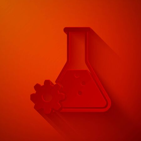 Paper cut Bioengineering icon isolated on red background. Element of genetics and bioengineering icon. Biology, molecule, chemical icon. Paper art style. Vector Illustration