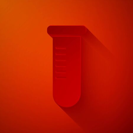 Paper cut Test tube or flask - chemical laboratory test icon isolated on red background. Laboratory, scientific glassware sign. Paper art style. Vector Illustration