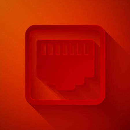 Paper cut Network port - cable socket icon isolated on red background Local area connector icon. Paper art style. Vector Illustration