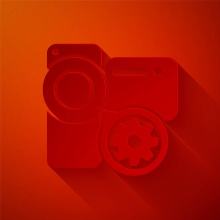 Paper cut Video camera and gear icon isolated on red background. Adjusting app, service concept, setting options, maintenance, repair, fixing. Paper art style. Vector Illustration