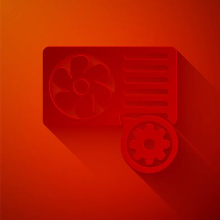 Paper cut Air conditioner and gear icon isolated on red background. Adjusting app, service concept, setting options, maintenance, repair, fixing. Paper art style. Vector Illustration Banco de Imagens - 133769844