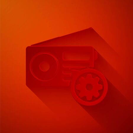 Paper cut Radio with antenna and gear icon isolated on red background. Adjusting app, service concept, setting options, maintenance, repair, fixing. Paper art style. Vector Illustration