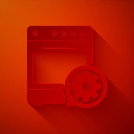 Paper cut Oven and gear icon isolated on red background. Adjusting app, service concept, setting options, maintenance, repair, fixing. Paper art style. Vector Illustration