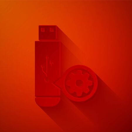 Paper cut USB flash drive and gear icon isolated on red background. Adjusting app, service concept, setting options, maintenance, repair, fixing. Paper art style. Vector Illustration Çizim