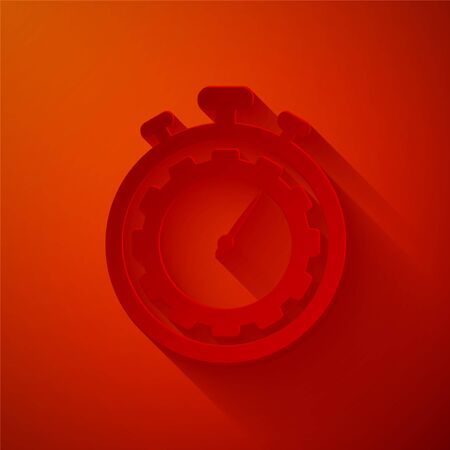 Paper cut Time Management icon isolated on red background. Clock and gear sign. Productivity symbol. Paper art style. Vector Illustration