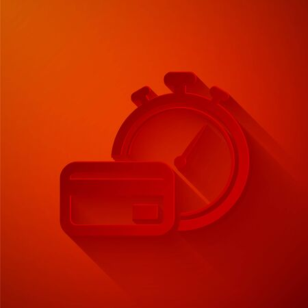 Paper cut Fast payments icon isolated on red background. Fast money transfer payment. Financial services, fast loan, time is money, cash back concept. Paper art style. Vector Illustration Illusztráció