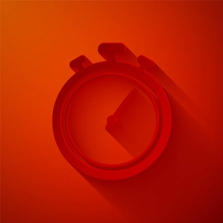 Paper cut Stopwatch icon isolated on red background. Time timer sign. Chronometer sign. Paper art style. Vector Illustration Illusztráció