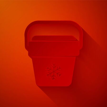 Paper cut Cooler bag icon isolated on red background. Portable freezer bag. Handheld refrigerator. Paper art style. Vector Illustration