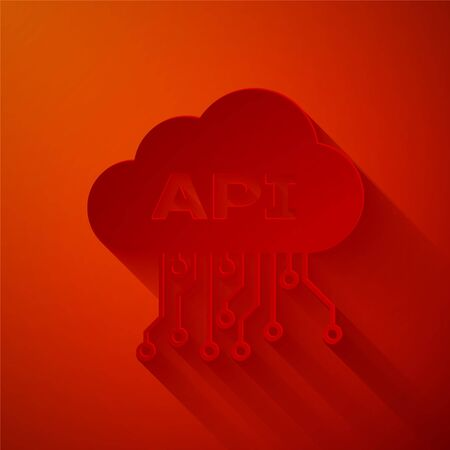 Paper cut Cloud api interface icon isolated on red background. Application programming interface API technology. Software integration. Paper art style. Vector Illustration